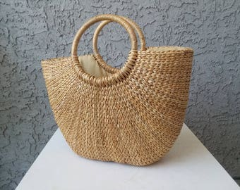Seagrass Tote, woven natural handmade