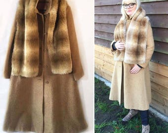 The Bacall. Womens vintage camel swing coat with additional faux fur scarf