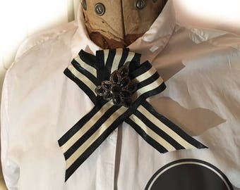 The Belle. Black and white striped ribbon with large black faux crystal and diamanté costume jewellery rosette