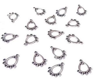 20 drop connectors 16 x 12mm silver plated