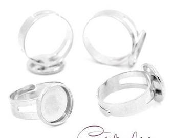 2 accessory stands ring adjustable silver plated tray (cabochon 12 mm)