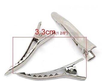 10 hair clips for silver metal hair clip