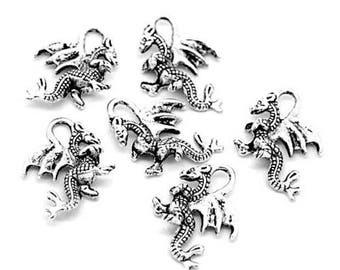 10 charms silver color dragon