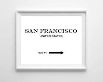 San Francisco Print, San Francisco Poster, San Francisco Gift, San Francisco Decor, Prada Marfa Print, City Print, City Poster