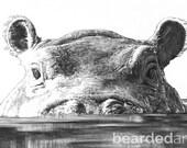 "8.5x11"" OR 11x17"" Print of Fiona the Hippo playing PEEKABOO"