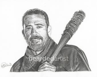 "8.5x11"" OR 11x17"" Print of Jeffrey Dean Morgan as Negan from The Walking Dead"