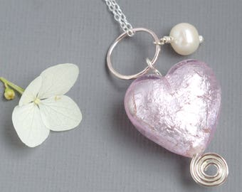 Mothers Day Rose Pink Murano Heart and Sterling Silver Infinity Spiral Pendant on Chain with Freshwater Pearl Drop Gift for Bridesmaids