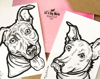 Custom Sharpie/Ink/Black and White Dog/Cat/Pet Portraits Personalized New School Old School Tattoo Style Bright Colorful
