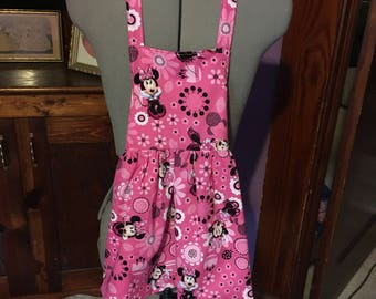 Bright Pink Minnie Mouse Girls Apron size 3-4