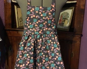 Purple and Blue Floral Girls Apron size 5-6