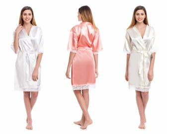 Delicate lace kimono robes, bridal shower robes, personalized lace robes, bridal party robes, cute bridesmaid robes, cheap silky satin robes