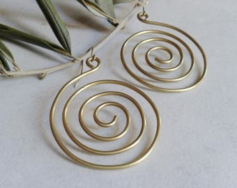 Brass spiral earrings, earrings, hoop earrings, drop earrings, natural brass, gift for her