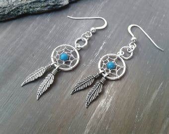 Dream catcher, dreamcatcher Earrings, Silver earrings, turquoise earrings, jewellery boho, gift for her