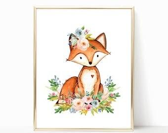 Fox Nursery. Fox Nursery Decor. Floral Fox Nursery Art. Woodland Nursery Prints. Girl Woodland Nursery. Woodland. Nursery Printables. 8x10