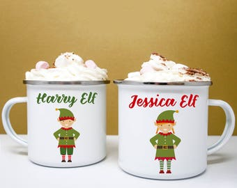 Personalised Family Christmas Elf Mugs, Merry Christmas Elf Mug, Christmas Mugs,Christmas Homeware, Children's Festive Mugs, Stocking Filler