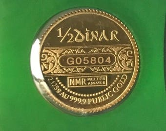 24k solid 999.99 gold coin currency half dinar 2.125grams