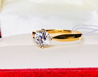 Engagement ring plain band Solid 22k real AUTHENTIC GOLD RING with gold lab created 6mm man made diamond wedding ring