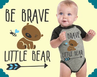 Be Brave Little Bear | Personalized Baby | Custom Baby Gift | Baby Boy Clothes | Baby Bodysuit | Kids Tshirt | Kids Shirts | Teal Blvd