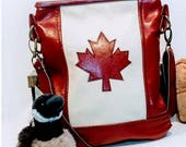 Custom Order for Patricia, Deposit, Canada Flag Tote Bag in Leather, Red Leather, Flag Bag, Canadian, Maple Leaf, Crossbody
