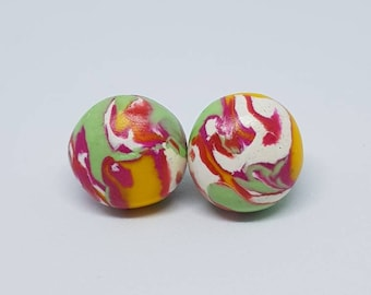 Marbel earrings, pink, green, white and yellow in color