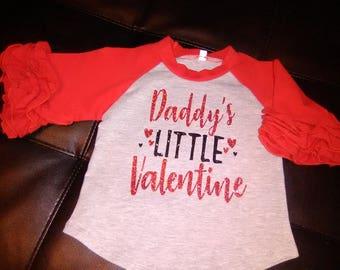 Daddy's little Valentine Ruffle Raglan/ Valentine day shirt/ 12 month old Valentine day shirt