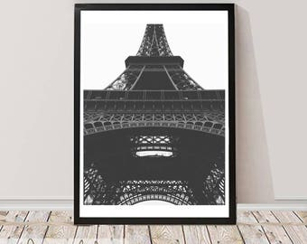 France Print, Black and White Photography,  Eiffel Tower Printable, Printable Large Wall Art Poster, Eiffer Tower Art City Scape, France