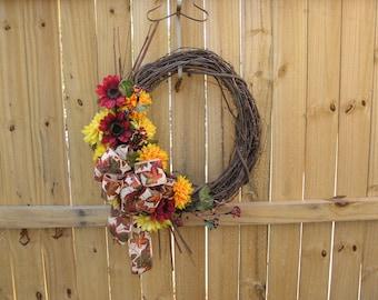 Fall Grapevine Wreath ~ Autumn Wreath ~ Fall Decor ~ Fall Door Hanger ~ Fall Wreath