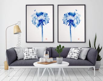 Watercolor painting art print Kitchen Decor dandelion Navy Blue paintig set Anniversary Gift Idea Floral dandelion Painting Blue wall art