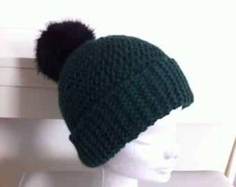 Wool Hat with faux fur Pom Pom green Alpaca