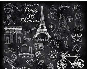 "SALE40% Chalkboard Paris doodle clipart: ""PARIS CLIPART"" Eiffel Tower France Clipart Air Baloon Travel clipart Poodle clipart Diy invites Fa"
