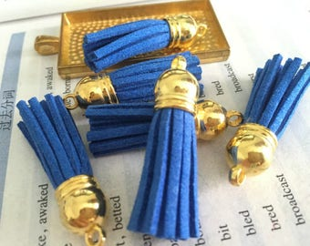 50pieces royal blue suede leather Gold plastic caps ear tassel --for length 45mm