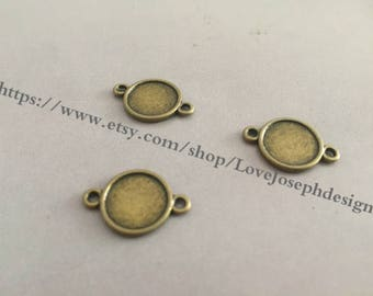 Wholesale 50 Pieces /Lot Antique Bonze & Silver  Plated 10mm(both side) cabochon blanks trays link connectors (#0301)