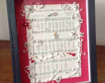 Quilled and Framed Hymnal Picture, Amazing Grace Quilled and Framed Picture, 8 x 10 Quilled Picture