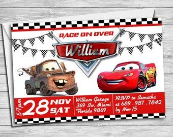 Cars Birthday Invitation, Mater and Lightning McQueen Birthday Invitations, Cars Invitation, Checkered Car Invitation, Printable | MCA_02