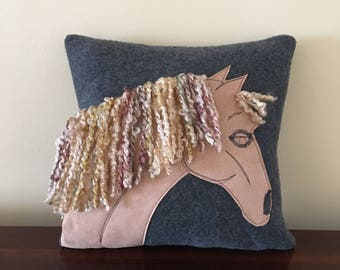handmade horse head pillow appliqud horse pillow textured yarn mane - Horses Head Pillow