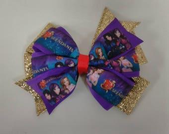 Descendants hair bow, Character hair bow, girls glitter bow, birthday hair bow, colorful hair bow, Descendents cartoon hair bow, purple bow