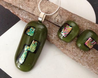 Olive dichroic jewelry set, necklace and earrings, olive green and gold, fused glass pendant, handmade jewelry, summer fashion, gift for her