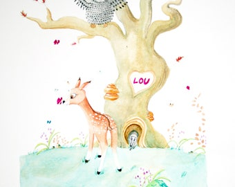 Sibylle DOE illustration for customizable baby/child room