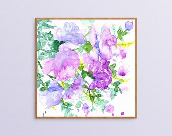 Abstract Floral Art - Watercolor Painting - Floral Painting - Watercolor Flowers - Botanical Watercolor - Purple - Floral Print - Floral Art