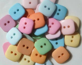 20 square buttons sewing scrapbooking 1.5 blend baby PASTEL cm