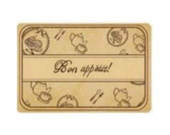 Box of 4 stamps scrapbooking BON APPETIT wood