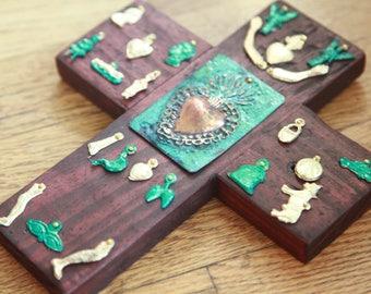 Milagro Cross-Folk Art- Milagros- Ex Voto.Sacred Heart Art-Patina Sacred Heart-Mexican Tin Art