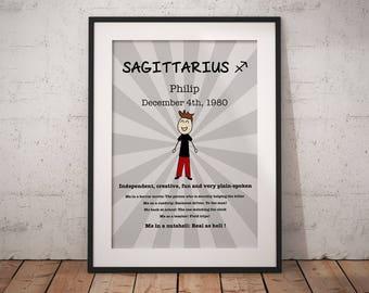 Sagittarius gift, zodiac sagittarius, personalised gift, zodiac, sagittarius, gift for men, gift for her, zodiac gift, horoscope, star sign