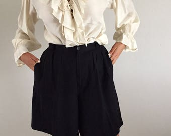 Vintage 90s Black Linen High Waisted Pleated Shorts 27 W