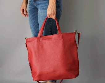 TOTE Bag, Red bag, Leather Tote bag, Crossbody Bag - Everyday Leather, Shoulder Bag, Slouchy leather hobo, Natural leather, Red tote bag
