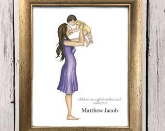 Mommy Loves You - mother daughter - mother son- nursery art - nursery decor- motherhood - gift for new mom- new baby- customizable art
