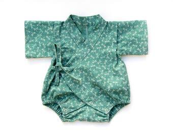 Baby kimono romper, new baby gift, newborn gift, gender neutral baby clothes, baby jinbei, kawaii romper, baby kimono, dragonfly baby