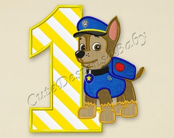 SALE! Paw Patrol Chase First birthday applique embroidery design, Paw Patrol Machine Embroidery Designs, Embroidery designs baby, #067