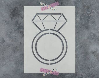 Engagement Ring Stencil - Reusable DIY Craft Stencils of an Engagement Diamond Ring