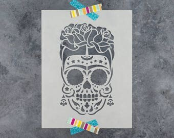 Sugar Skull Frida Stencil - Reusable DIY Craft Stencils of Sugar Skull Frida
